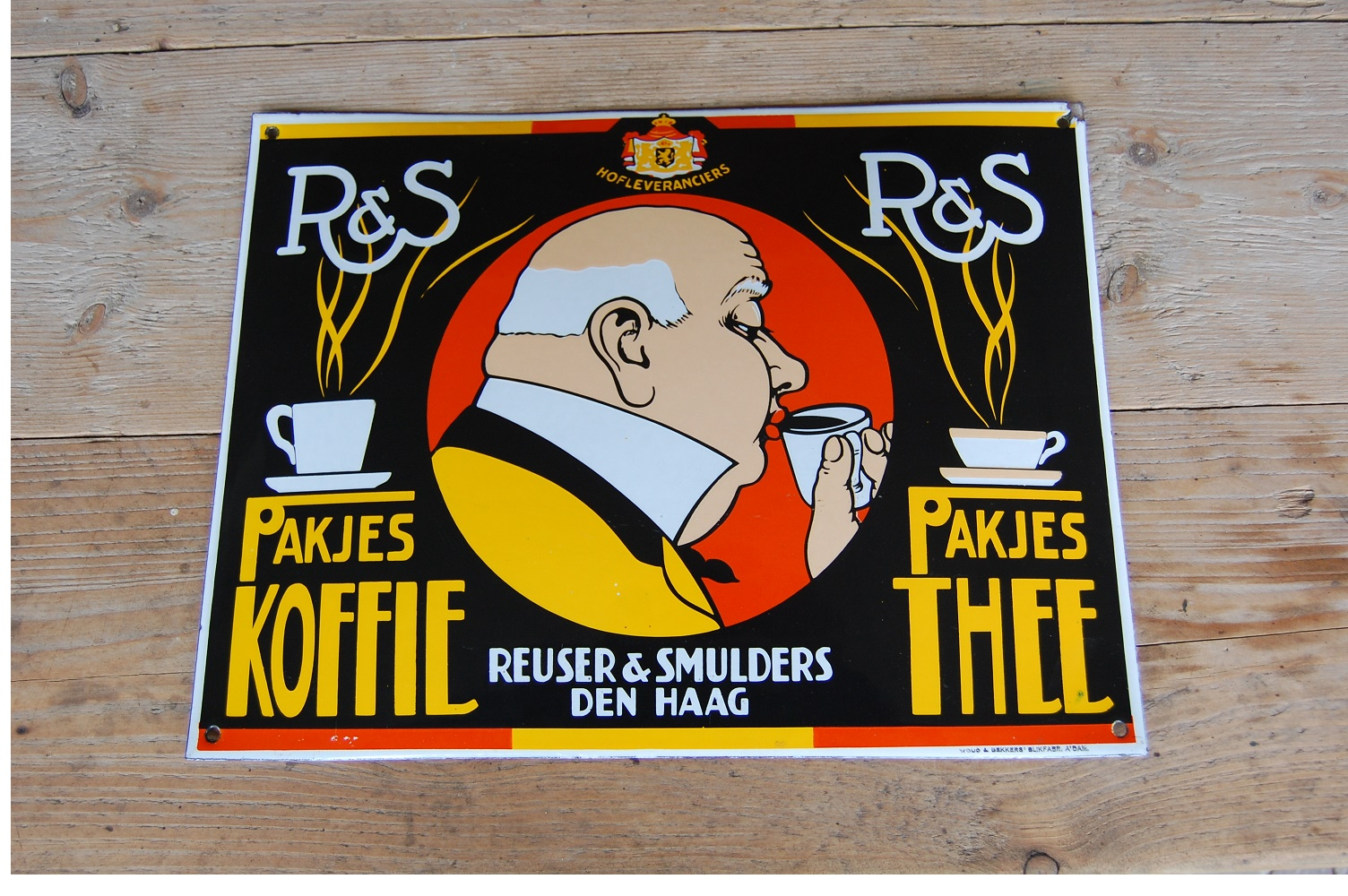 R&S koffie thee emaille reclamebord
