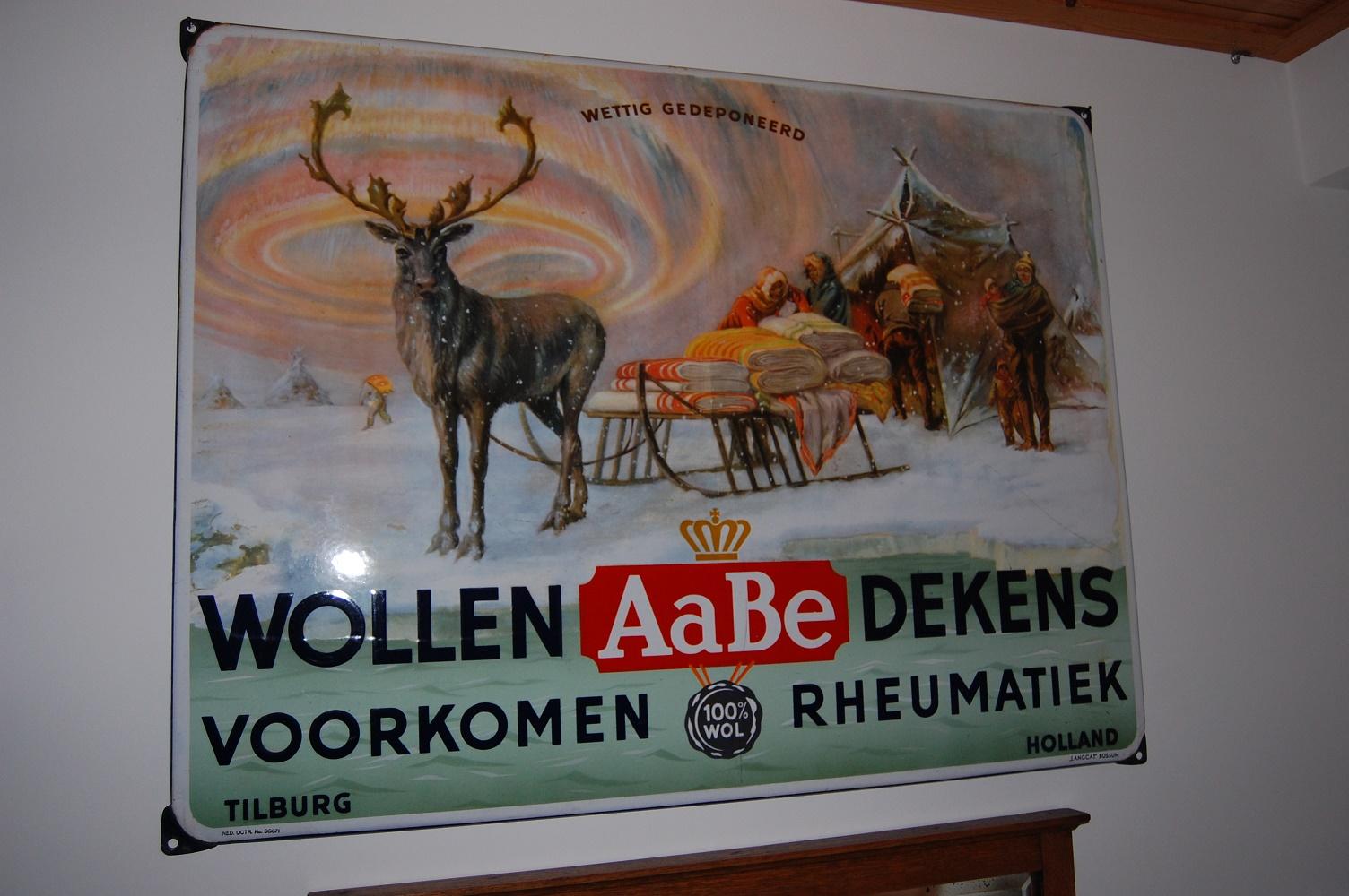 emaille reclame aabe wollen dekens voorkomen reumatiek