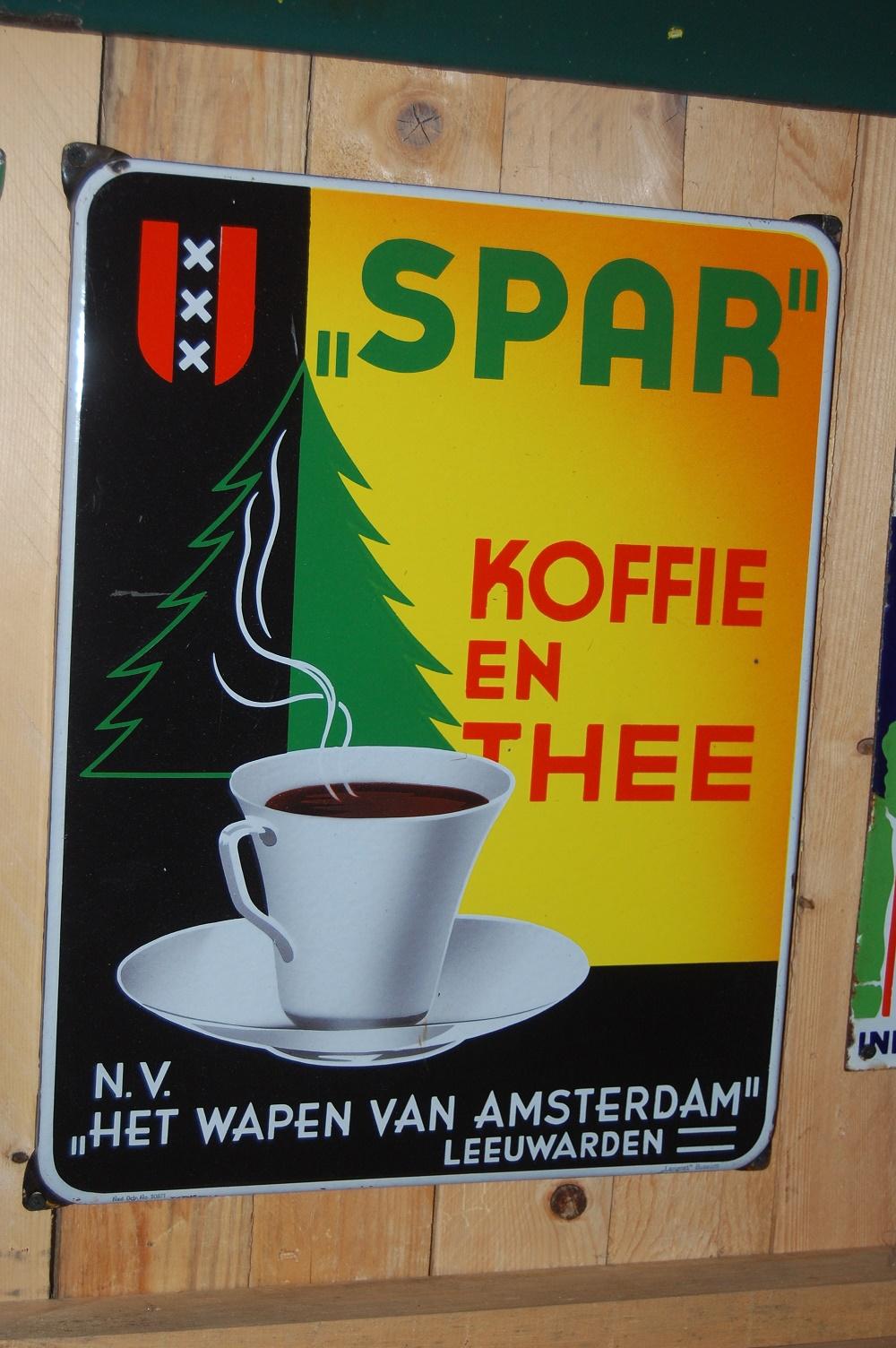 emaille reclamebord spar koffie en thee het wapen van amsterdam