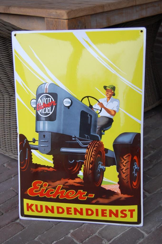 emaille reclamebord eicher tractor kundendienst