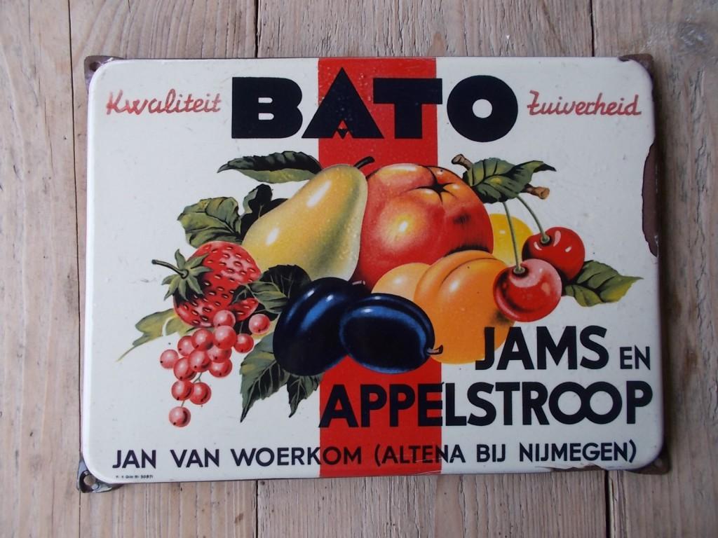 bato jams en appelstroop altena bij nijmegen emaillen reklamebord
