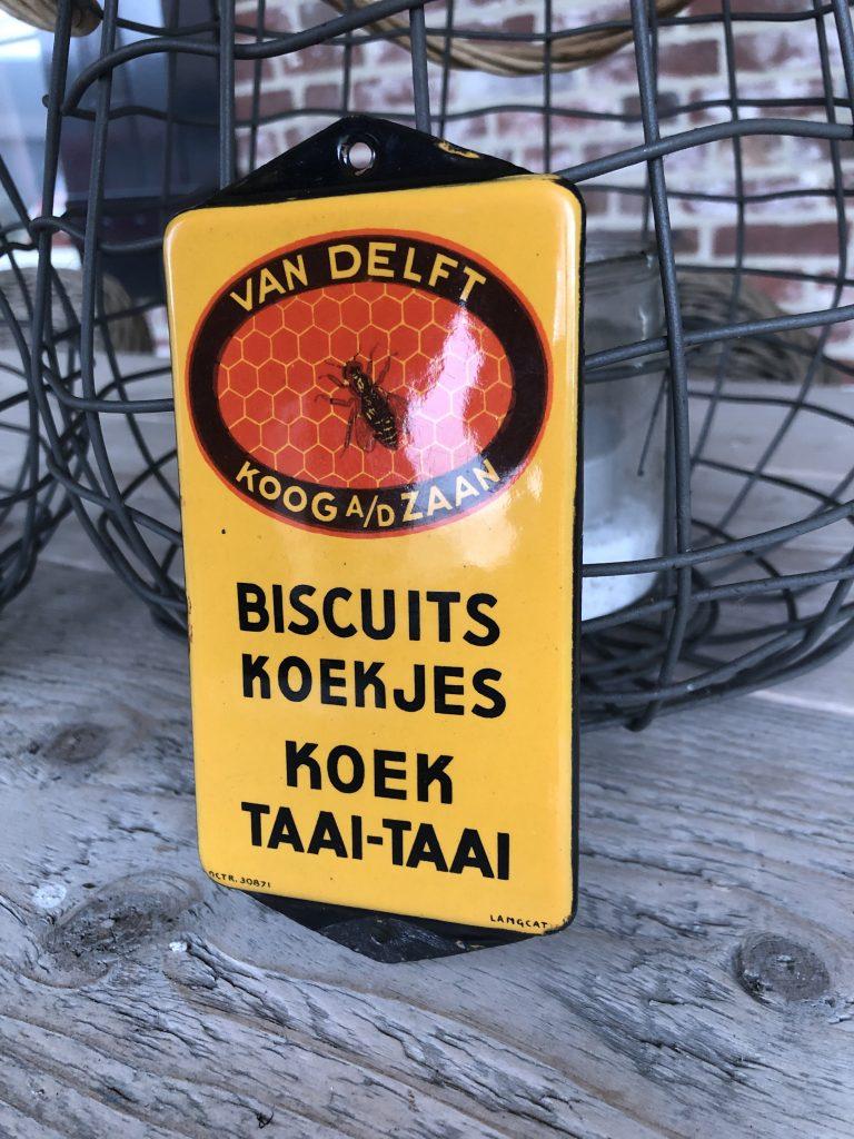 emaille reclamebordje van delft koog a/d/ zaan biscuits koekjes koek taai-taai