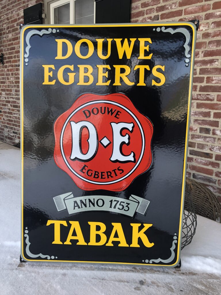 douwe egberts tabak emaille reclamebord koffie thee